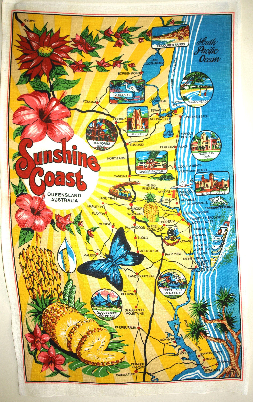 Sunshine Coast Queensland Tea Towel Vintage Retro Map Pineapple Beach Holiday Qld Australia New Old Stock By Funkykoa Tea Towels Retro Map Vintage Souvenir