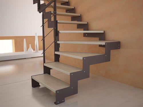 Escalera de hierro con madera trabajos de herreria - Escaleras de madera ...