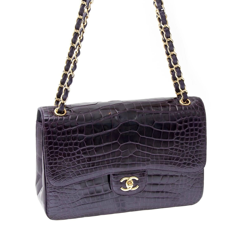 d34a952d1615 Rare Chanel Amethyst Crocodile Jumbo Double Flap Bag | Loco for Coco ...