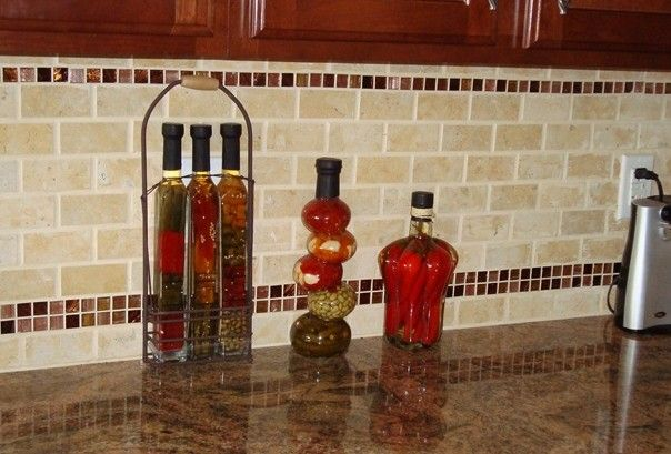 Picture Of Subway Tile With Mosaic Accent Kitchen Tiles Design Backsplash Tile Design Kitchen Tiles Backsplash