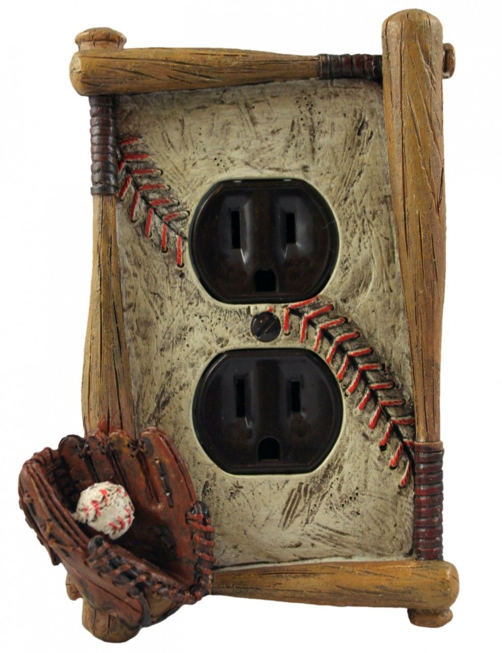 Kids Bedroom Outlet the textured element - baseball themed single outlet electrical