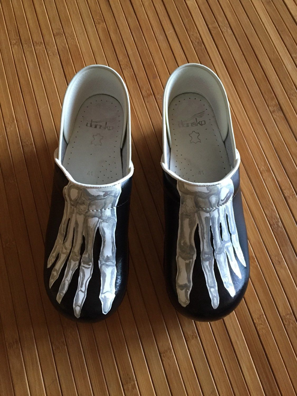 Hand Painted Dansko Clogs 41 Skeleton Feet By Glassartbynoni On Etsy