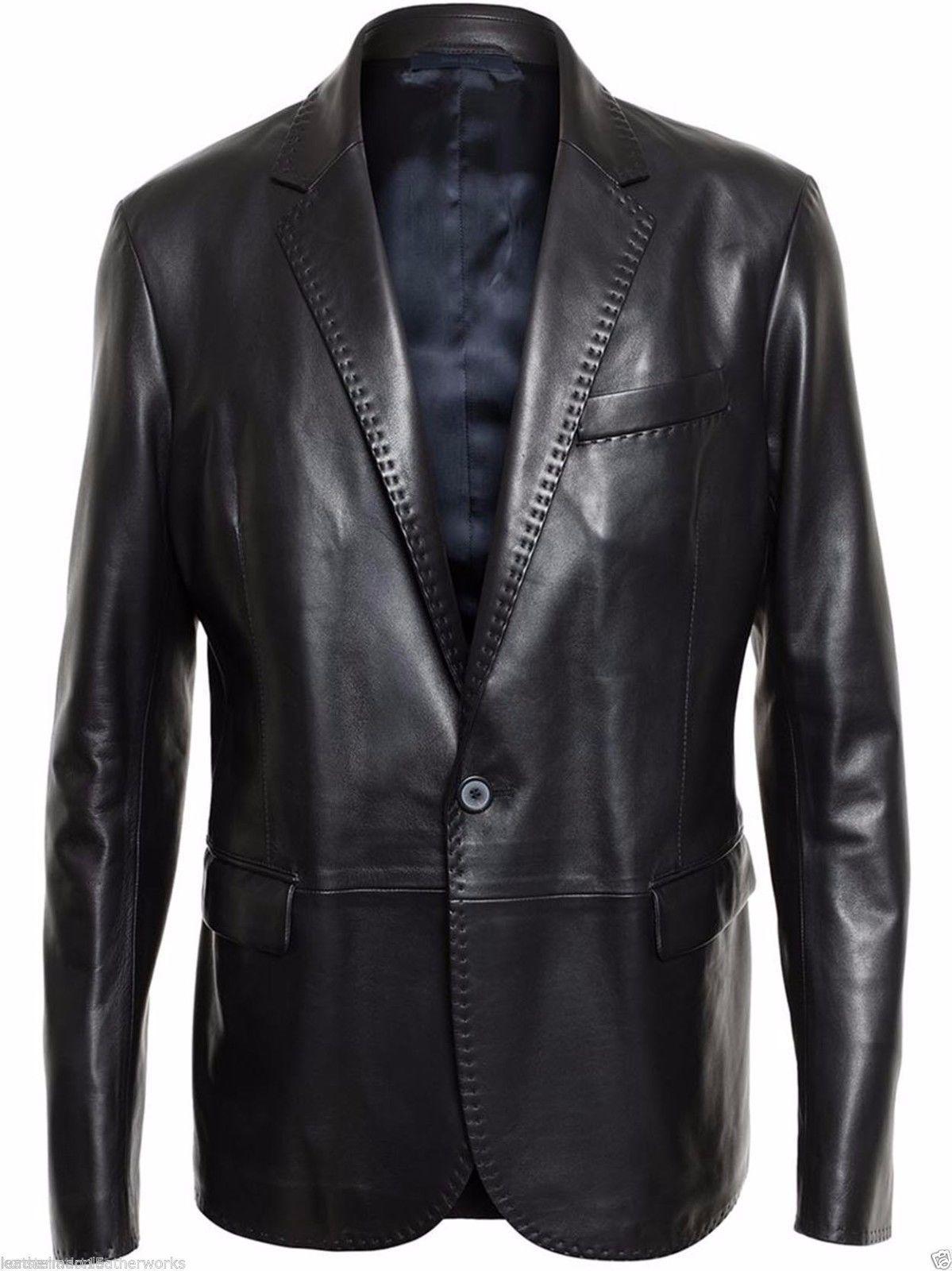 Men/'s Genuine Lambskin Real Leather Blazer Jacket Two Button Slim Fit Coat