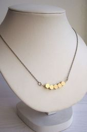 Golden Honeycomb Row Necklace  Solid Brass Hexagon Beads  Geometric   Golden Honeycomb Row Necklace  Solid Brass Hexagon Beads  Geometric  Golden Honeycomb Row