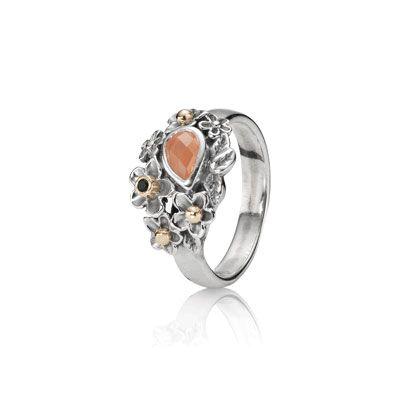 651c8d0f3 PANDORA | Ring, Dew Drops on Flowers w/14K, Onyx, and Orange Moonstone