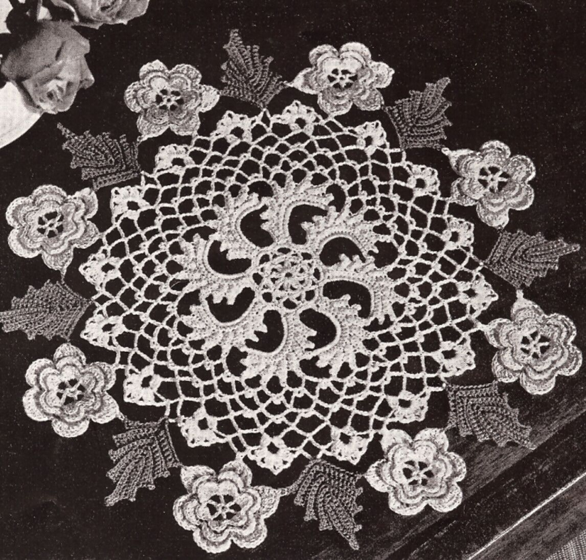 Vintage Crochet Pattern To Make Irish Rose Flower Doily Centerpiece Diagram Flowers 4 Patterns Free Crocheted And