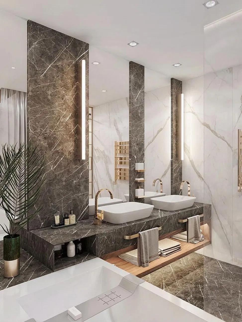 32 Interior Design Using Moody Colours And Natural Materials 4 Megasiana Com Bathroominterior Modern Bathroom Design Bathroom Design Luxury Luxury Bathroom