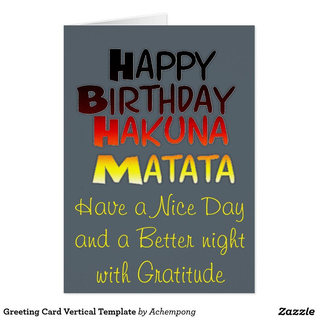 Hakuna Matata Greeting Card Vertical Template Happy Selling