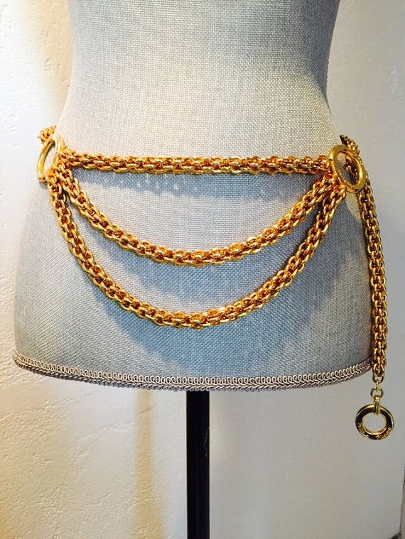 3038ba23b4528 Paloma Picasso Gold VINTAGE chain belt...Here's to a decadent well spent  youth.