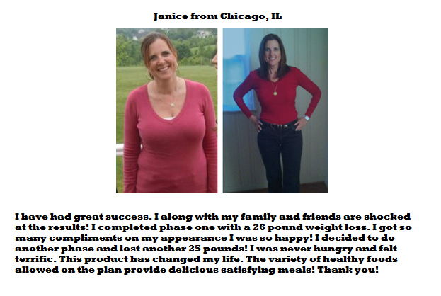 HCG Diet Drops Testimonials from Janice - Chicago, IL
