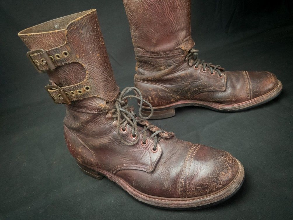 03e6ddecb1006 Rare example of WWII US Army Modified M-43 (double buckle) Combat Boots  using Star Brand boots with leggings sewn on.