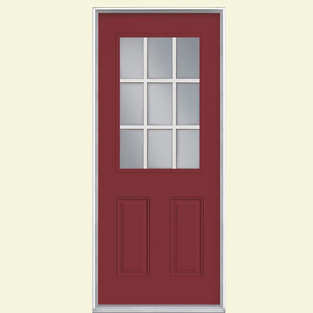 Masonite 32 In X 80 In 9 Lite Right Hand Inswing Painted Steel Prehung Front Exterior Door No Brickmold 23768 The Home Depot Fiberglass Entry Doors Entry Doors Steel Entry Doors