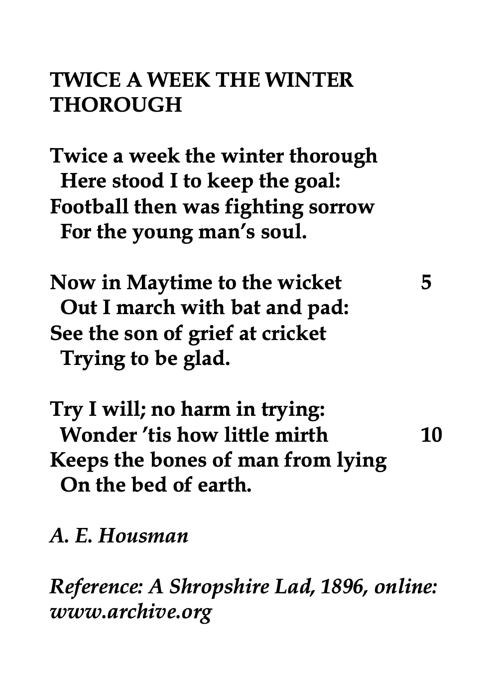 A E Housman English Scholar And Poet Poem Quote Word Poems An Old Man Winter Night Paraphrase