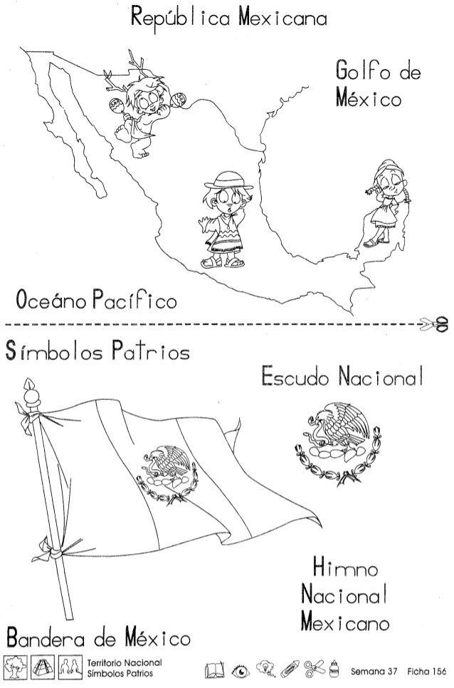 Republ Ica Mexicana Golfo De Mexico Oceano Pacrpi Co Segundo Grado Actividades Ludicas Para Ninos Dia De La Bandera