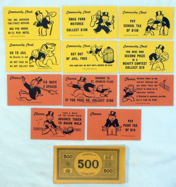 Monopoly Game Pieces Monopoly Chance And Community Chest Etsy Monopoly Money Monopoly Cards Game Pieces