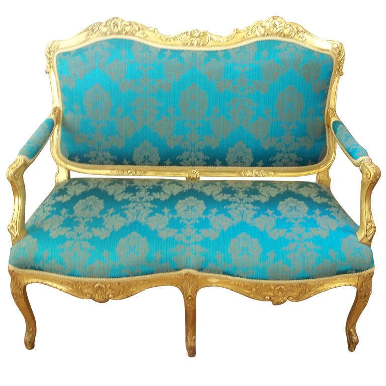 Antique Looking Furniture Cheap: Mid-19th Century Settee Or Sofa Louis XV Style Giltwood