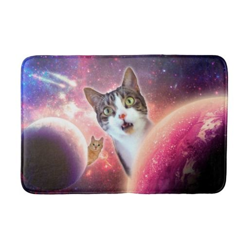 Space Cats LOL Funny Medium Bath Mat