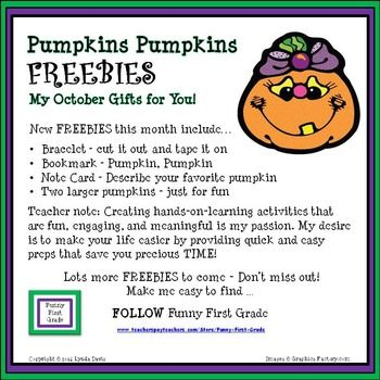 Pumpkins Pumpkins - FREEBIES this month include a bracelet, a bookmark, a pumpkins  pumpkins note card, and - just for fun - two larger pumpkins. Enjoy!