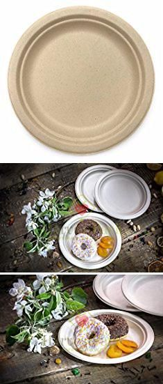 Sturdy Disposable Plates. [100 COUNT] 9  in Round Disposable Plates - Natural Sugarcane Bagasse Bamboo Fibers Sturdy Nine Inch Compostable Eco Friendly ... & Sturdy Disposable Plates. [100 COUNT] 9