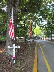 North Georgia mountain community of Dahlonega pays honor to those who served, with honor, in a branch of the us armed services.  It's amazing to see this town's pride for those who have served our country.  The streets are lined with crosses which bear the names of deceased veterans, along with the war in which they served. As a visitor to the area this was heartwarming to see.