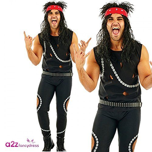 NEW 80s Metal Band Costume For Men With Trousers Vest Belt And Headband Sizes M L Or XL