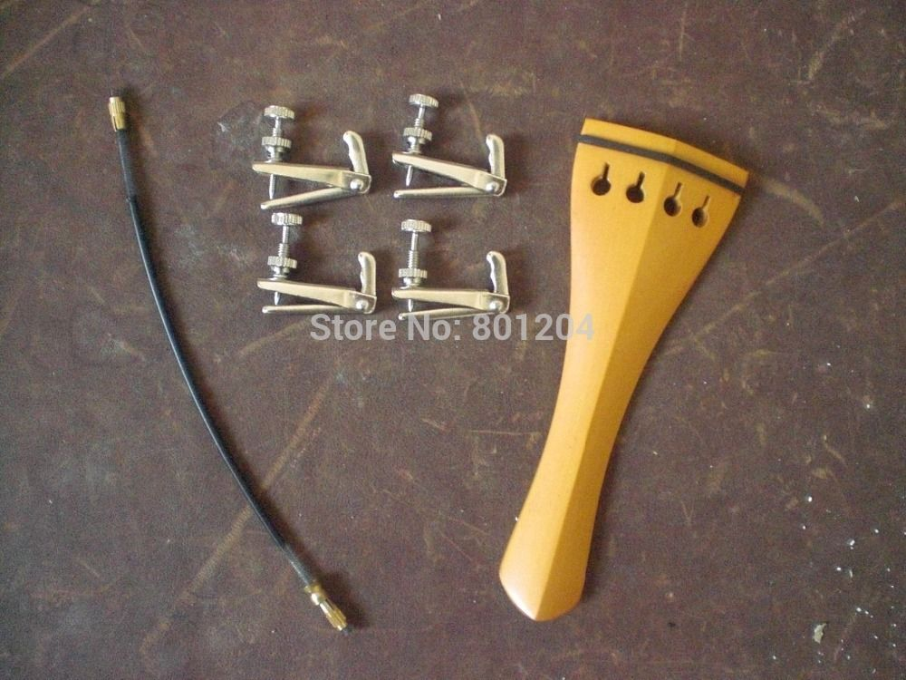 1 PC Boxwood Violin tail piece 4/4 with Silver Fine tuners