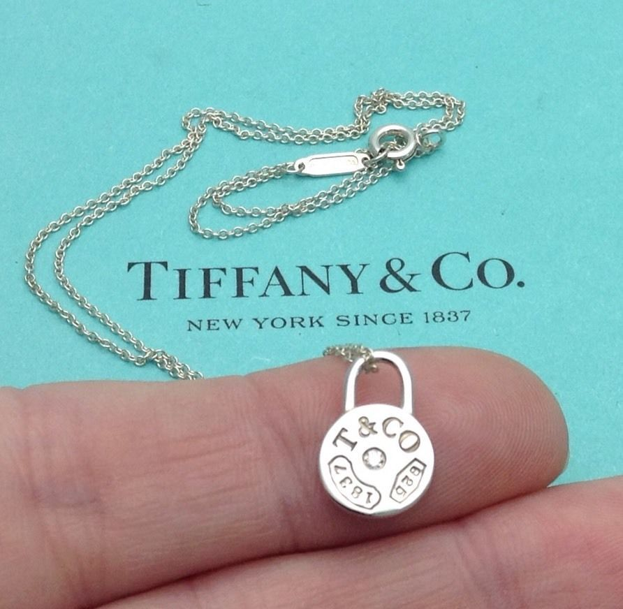 bc7a0d136 Tiffany & Co. Sterling Silver Diamond 1837 Round Lock Padlock Pendant  Necklace | eBay