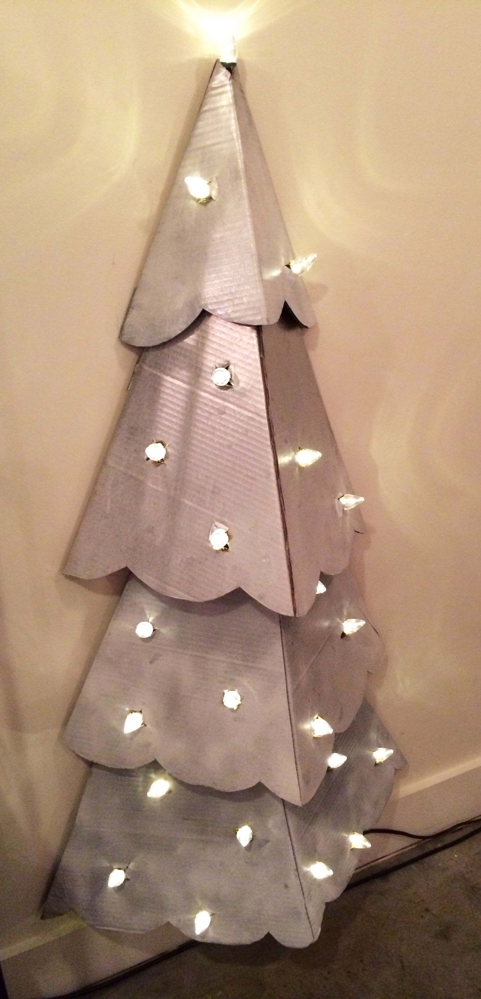 diy christmas tree cardboard and lights - Cardboard Christmas Decorations