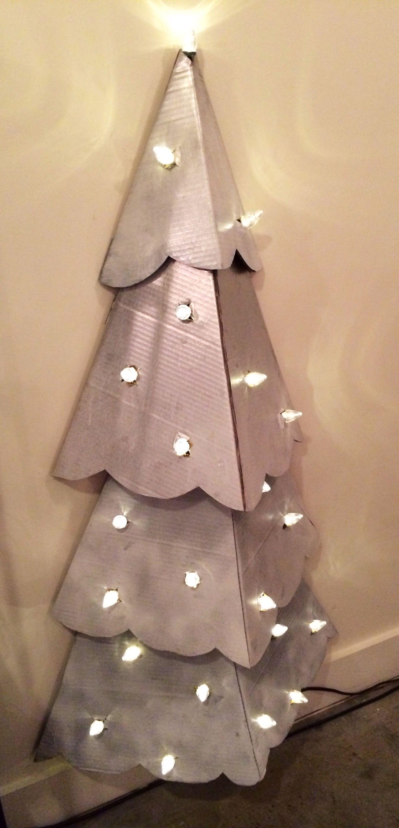 Diy Christmas Tree Cardboard And Lights Wall Christmas Tree Diy Christmas Tree Cardboard Christmas Tree