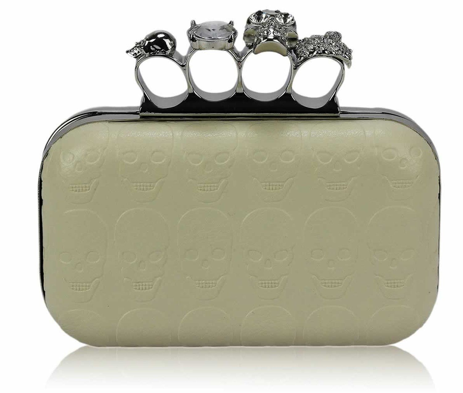 Ladies Ivory Skull Print Skulls Knuckles Rings Clutch Evening Bag: Amazon.co.uk: Shoes & Bags