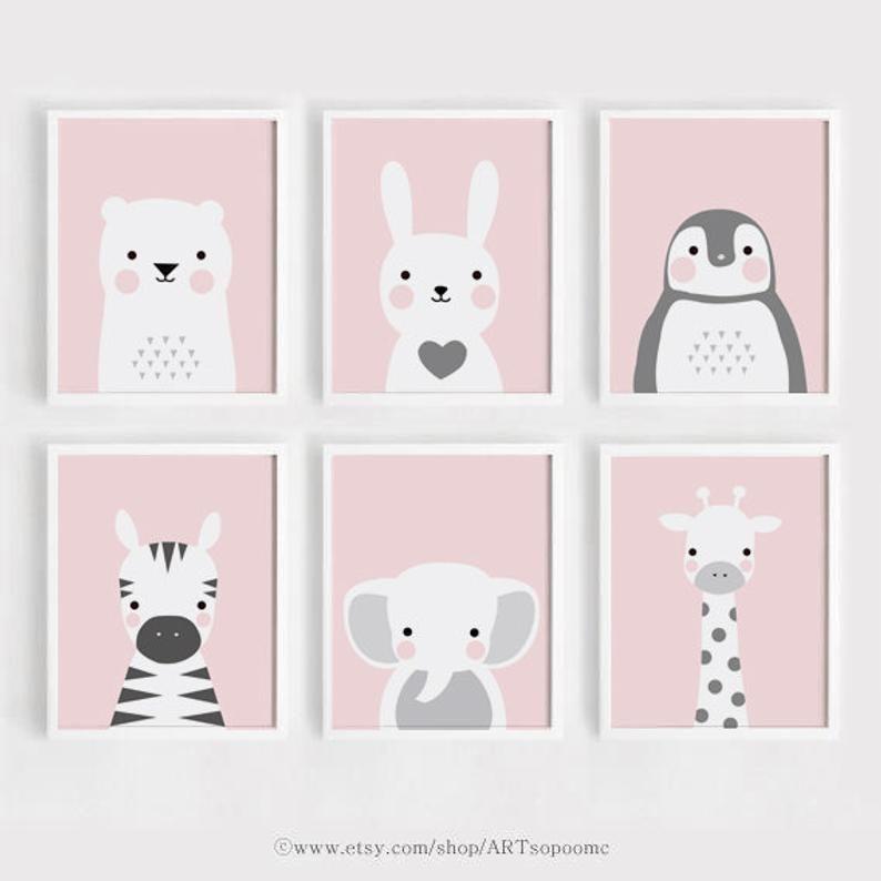 Pink Printable Nursery wall Art Set of 6 Poster Baby girl print Kids room decor Bear and Bunny Anima - #6 #and #Anima #Art #Baby #bear #Bunny #Decor #girl #Kids #Nursery, #of #pink #Poster #Print #Printable #room #Set #Wall