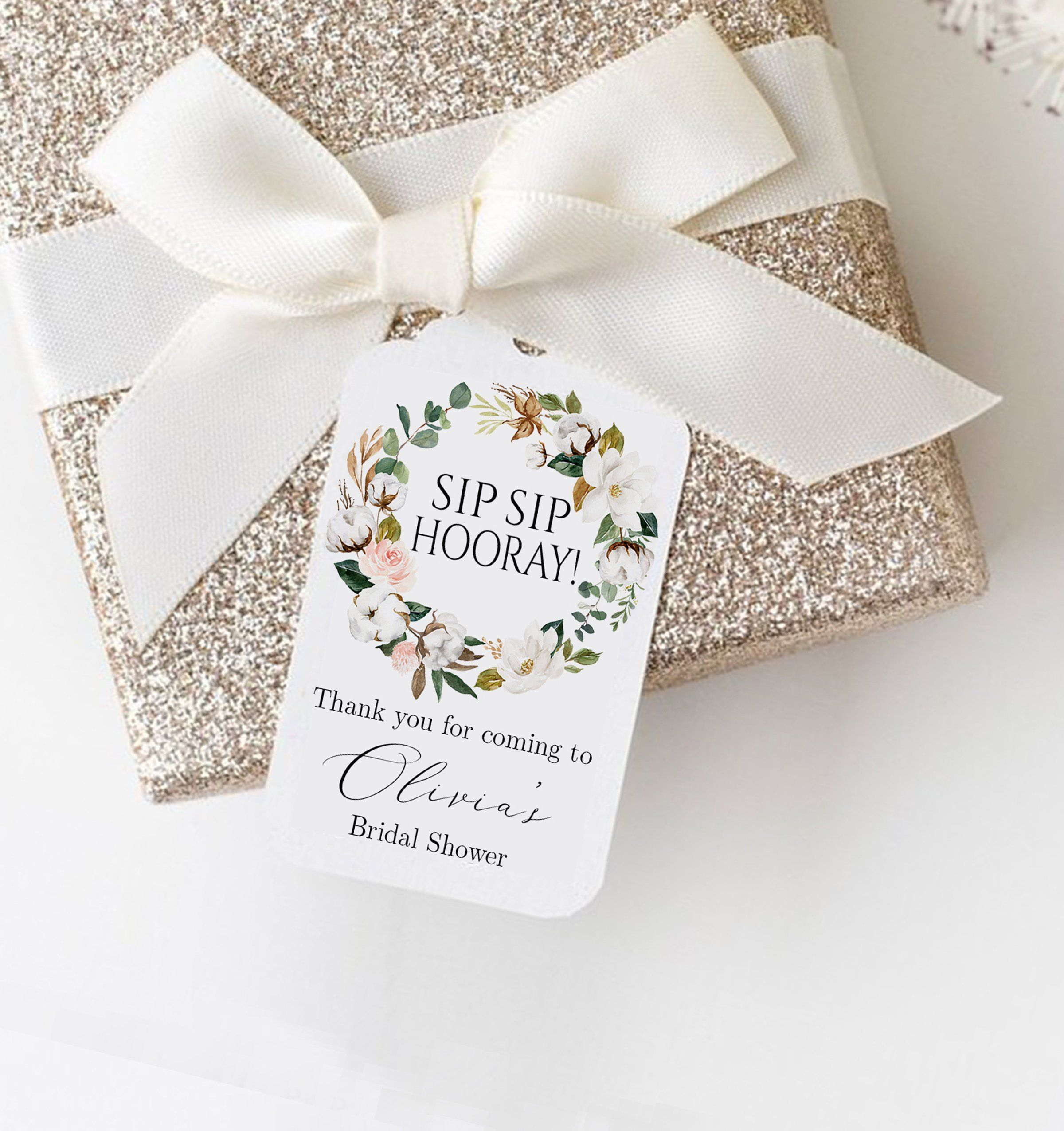 Sip Sip Hooray Bridal Shower Thank You Tags Wine Bottle Favor Mini