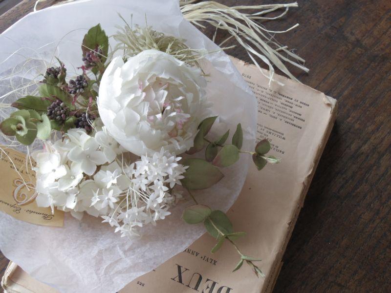 オールドローズとピンクアナベル オールド ローズ 花飾り 布花