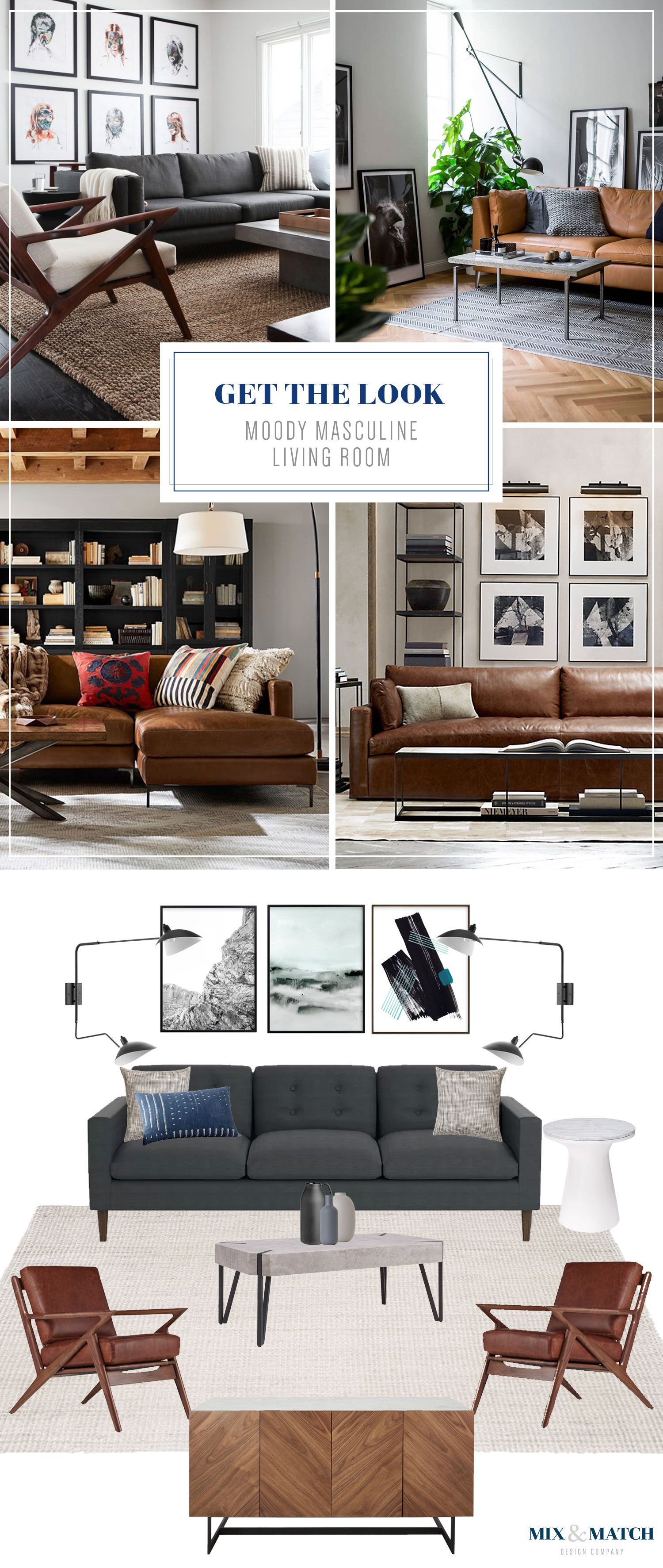 Get The Look Moody Masculine Living Room Masculine Living Rooms