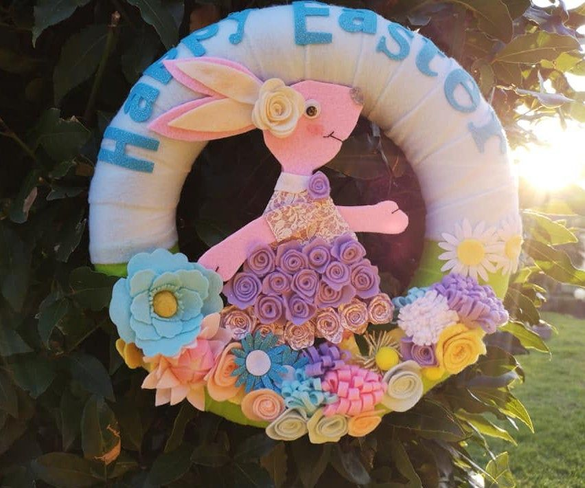 Photo of Easter wreath, out-of-door felt wreath, Easter decoration, spring wreath, Easter bunny, Easter gift