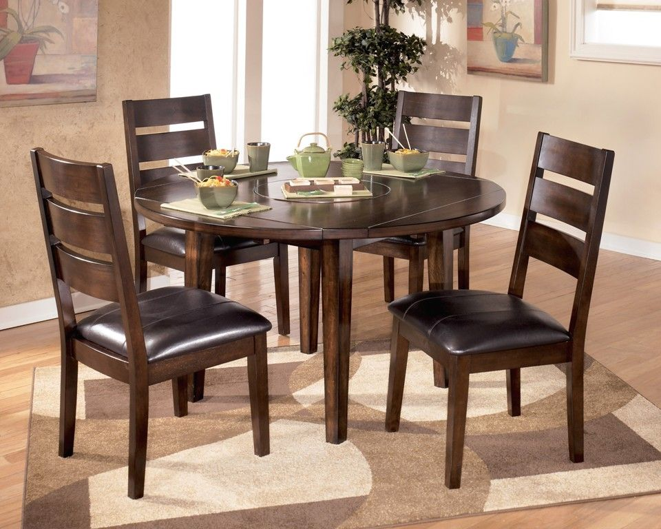 Furniture: Marvelous Round Oak Dining Table With Leaf From The Exotic Style  Of The Round