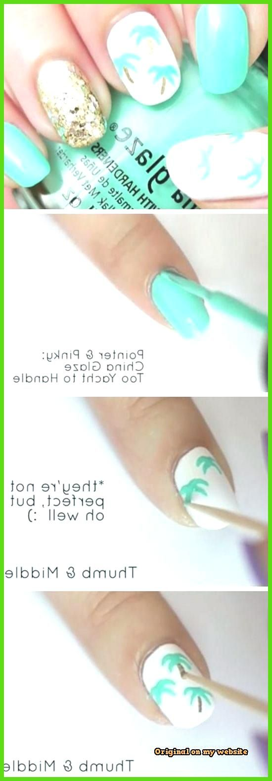 Nail Art Summer 2019 – Simple Palm Tree Nail Art- #Art #simple #Nail #neutr …
