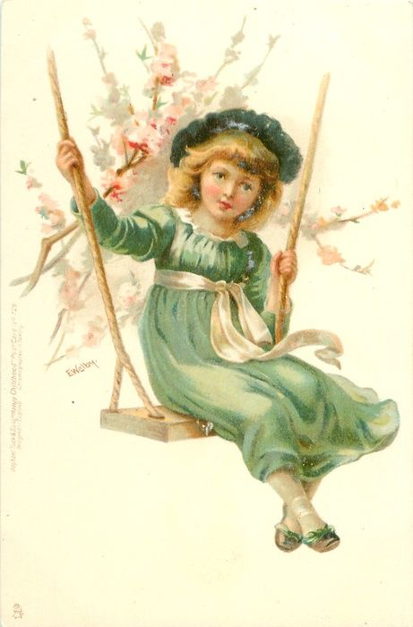 Girl on a swing - Vintage postcard, 1901 - Illustration by Ellen Welby (English, 1852-1936)