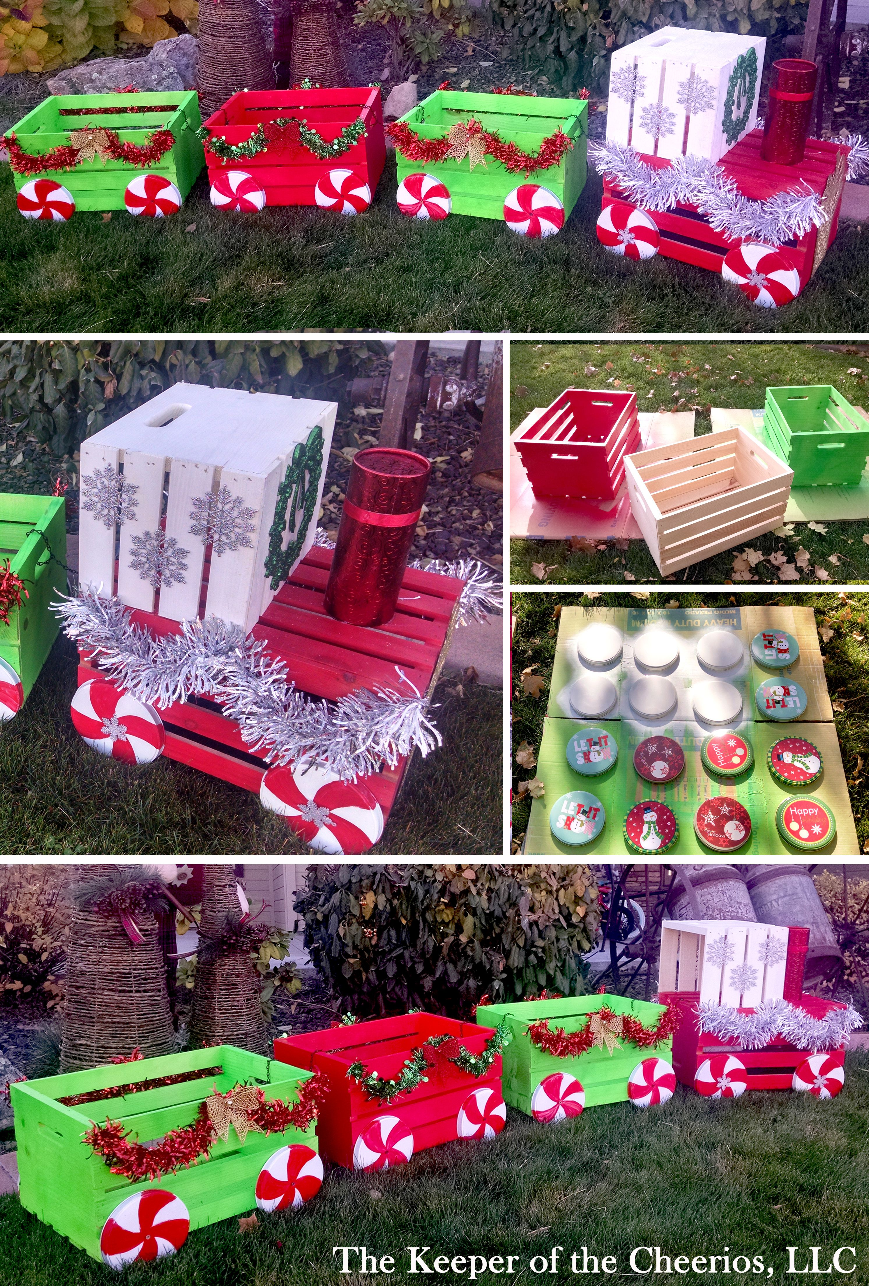 Lighted christmas gift boxes yard decor - Diy Christmas Crate Train Craft For Outside