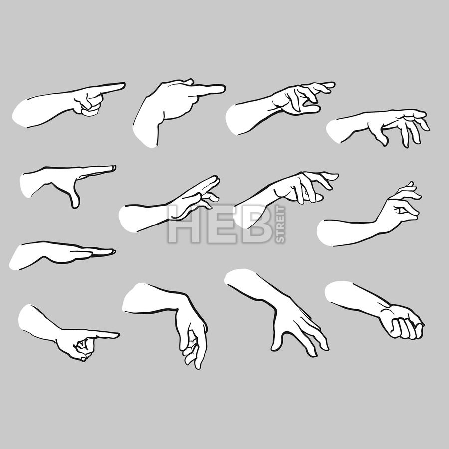 Set Of Hands Pointing Hebstreits Sketches Hand Drawing Reference Pointing Hand How To Draw Hands