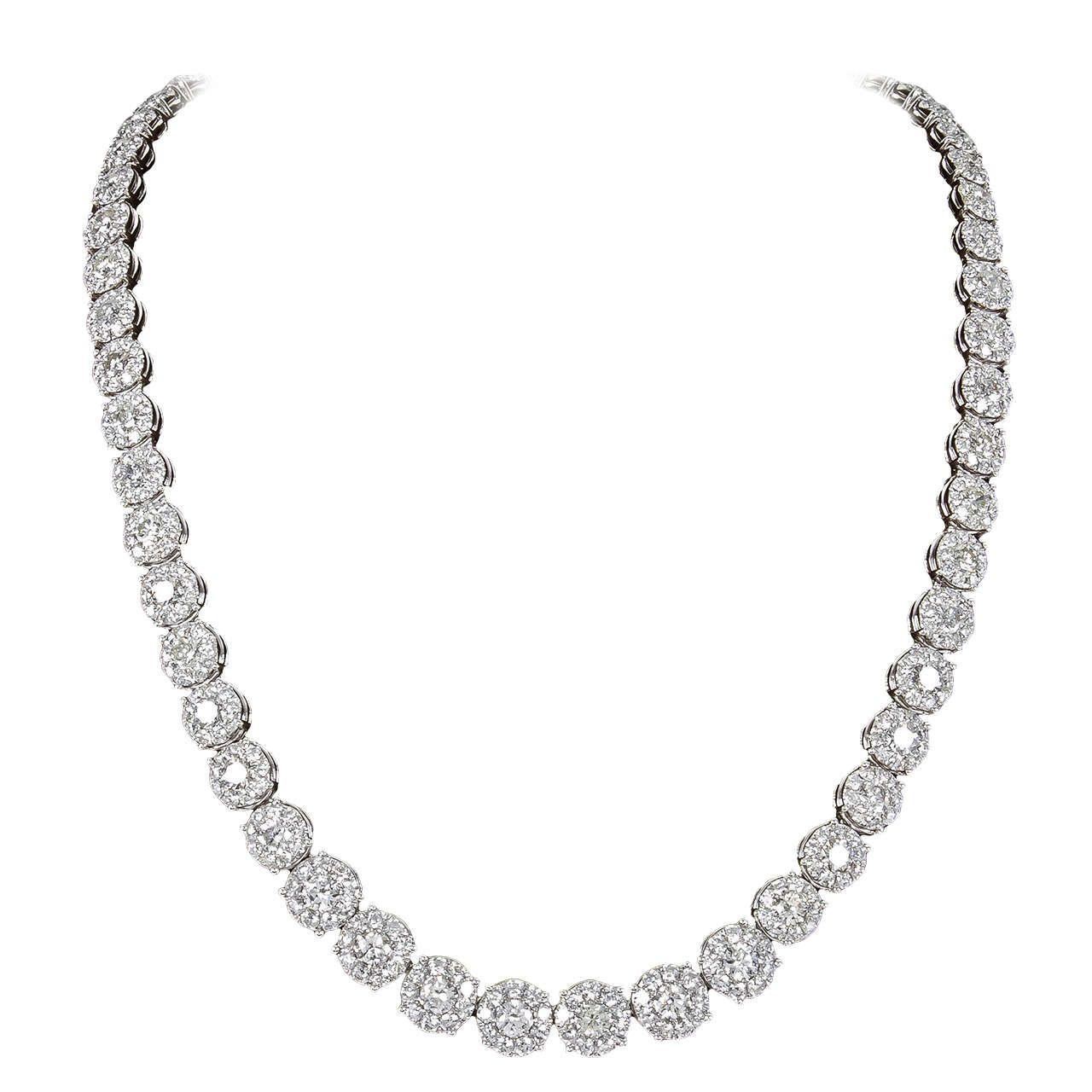 24 Carat Diamond Cluster Tennis Necklace Diamond Tennis Necklace Royal Jewelry