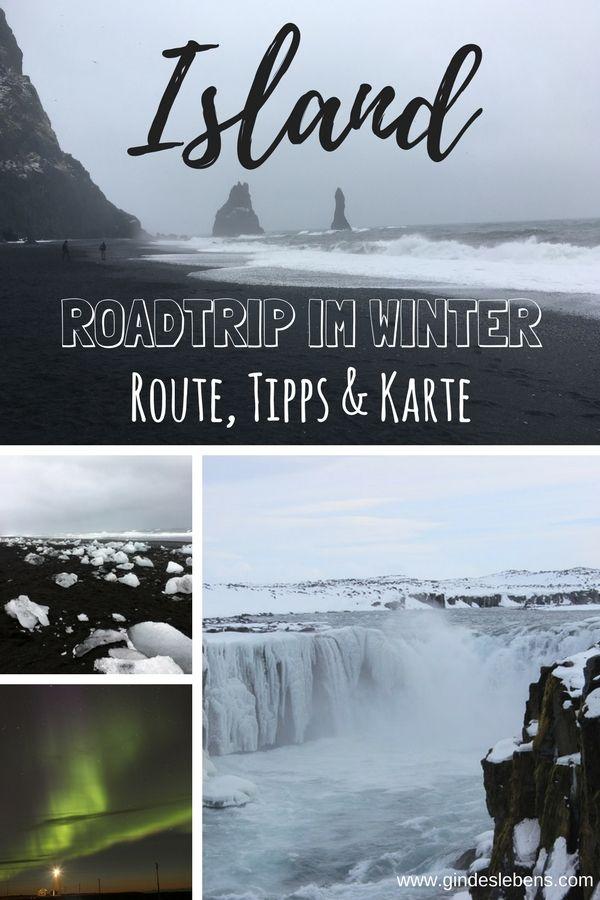 Island Roadtrip Route für 8 Tage Island Rundreise mit Karte #winterlandscape