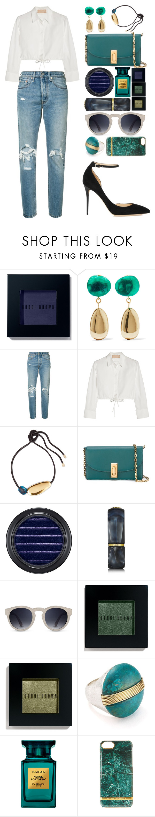 """""""#074"""" by theevilraccoon ❤ liked on Polyvore featuring Bobbi Brown Cosmetics, Dinosaur Designs, Levi's, Alaïa, Marc Jacobs, MAC Cosmetics, Oribe, Robert Lee Morris, Tom Ford and Richmond & Finch"""