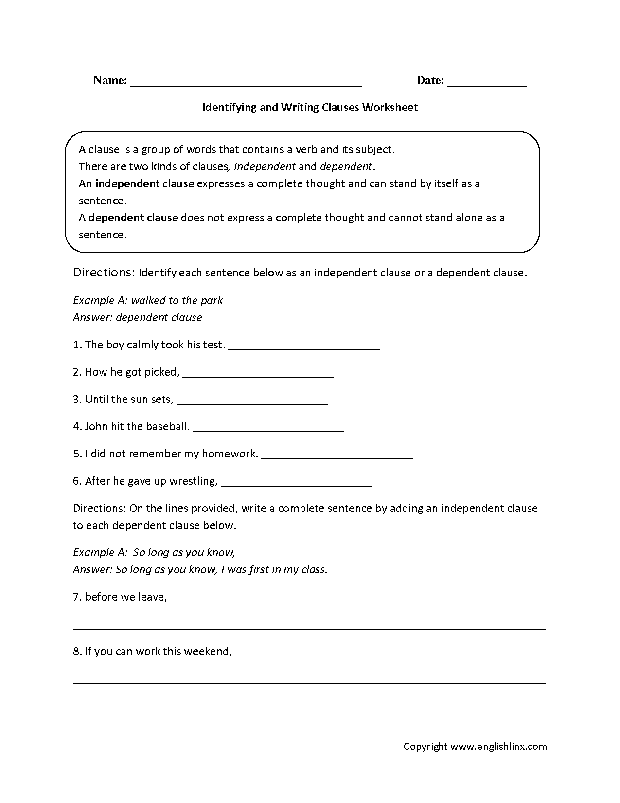 Identifying And Writing Clauses Worksheet
