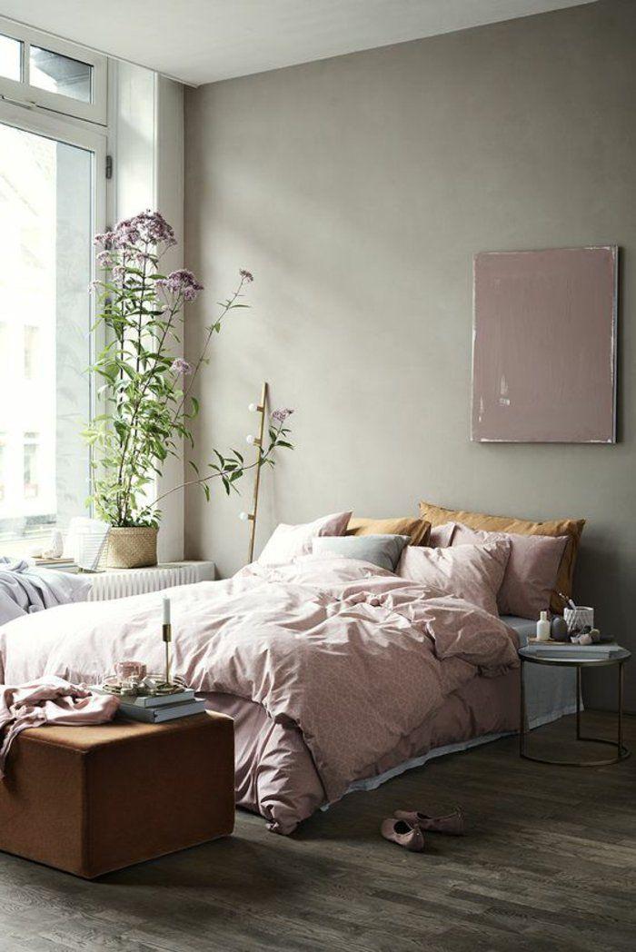 Lieblich Rosa Bettwäsche, Hohe Lila Blumen, Graue Wandfarbe Schlafzimmer Grau