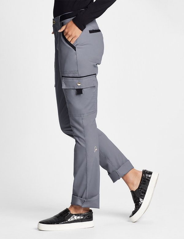 7a38c01652c The Straight Leg Cargo Pant in Graphite is a contemporary addition to  women's medical scrub outfits. Shop Jaanuu for scrubs, lab coats and other  medical ...
