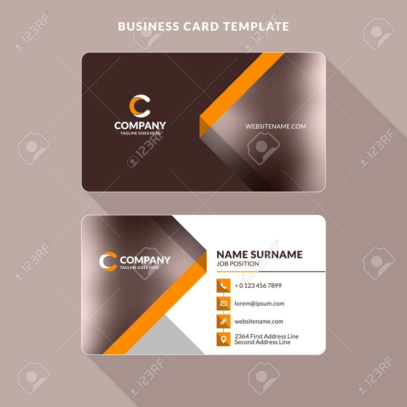 Double Sided Business Card Template With 2 Sided Business Card Templat Business Card Template Photoshop Double Sided Business Cards Business Card Template Word