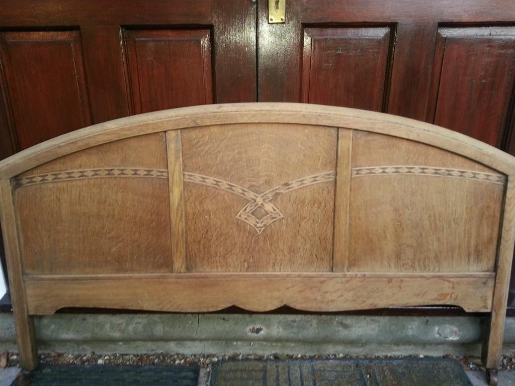 Antique Golden Oak Light Colour Headboard Edwardian Double Bed 4