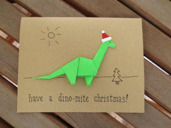 Origami Dinosaur Cute Christmas Card Have A Dino Mite Christmas