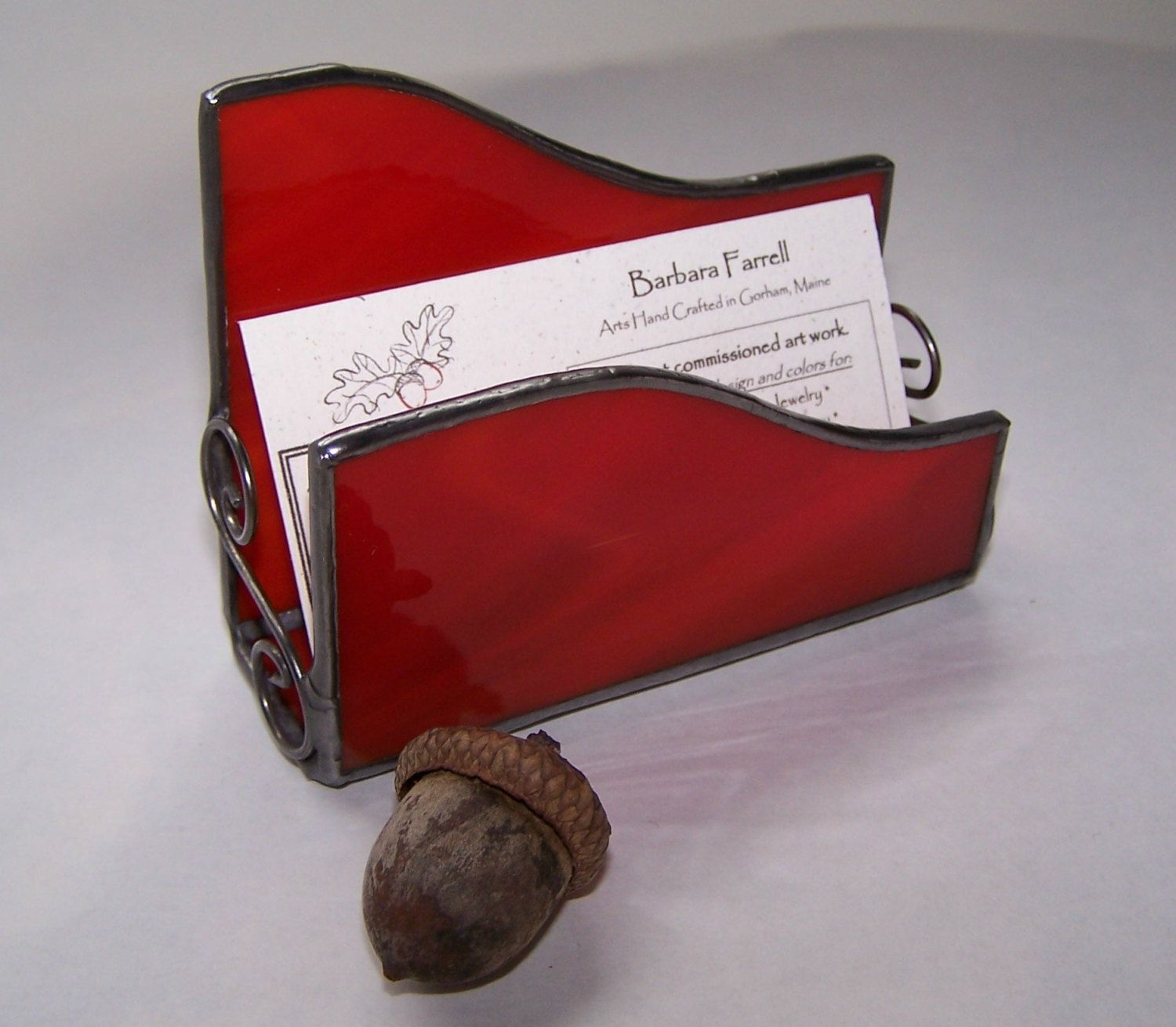 Stained glass business card holder red glass by AcornArtsStudio ...